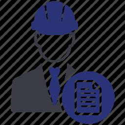 avatar, business, businessman, engineer, file, profile, work icon