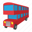 bus, cartoon, decker, england, london, transportation, vehicle icon