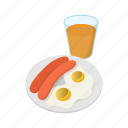 breakfast, cartoon, egg, food, meal, meat, sausage icon