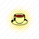 breakfast, comics, cup, drink, hot, mug, tea icon