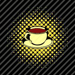breakfast, comics, cup, drink, hot, mug, tea icon