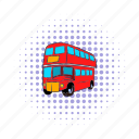 bus, comics, decker, england, london, transportation, vehicle icon