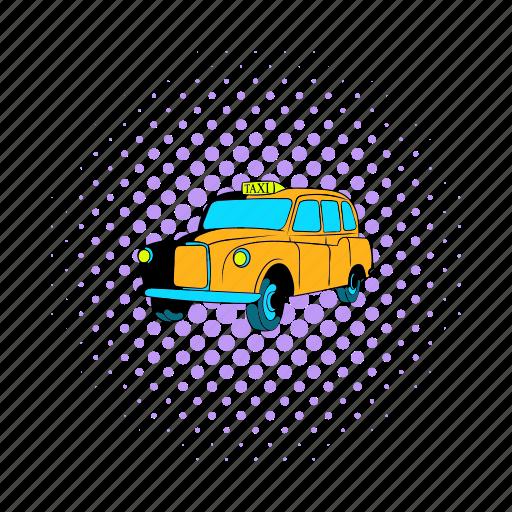 car, comics, london, taxi, transport, transportation, vehicle icon