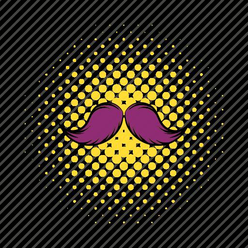 comics, curly, face, facial, hair, mustache, retro icon