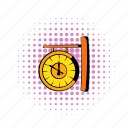 clock, comics, hour, minute, station, train, vintage icon