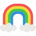 beautiful, cloud, color, rain, rainbow, sky, tools icon