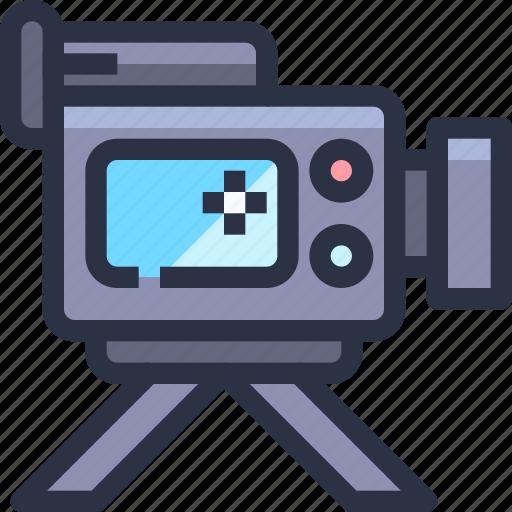 camera, device, entertainment, movie, technology, vidro icon