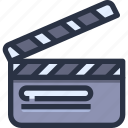 clapperboard, entertainment, movie, production icon