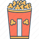bucket, corn, food, pop, pop corn, snack icon