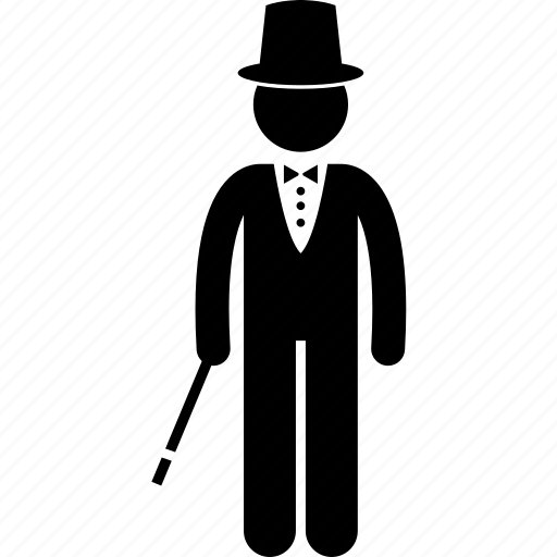 apparel, entertainer, hat, magician, man, performer, wand icon