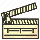 clapper, clapperboard, film, movie, multimedia, video icon