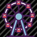 carnival, ferris, fest, park, top, wheel, move