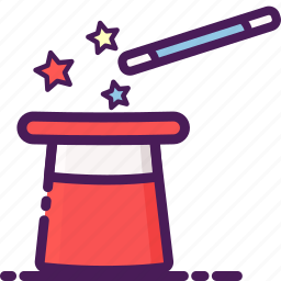 hat, illusion, magic, stick, wand icon