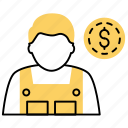 employee payment, employee salary, employee wages, enterpreneur, monetary compensation, remuneration icon