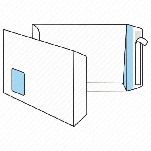 document, envelope, file, mail, peel and seal, post, window icon