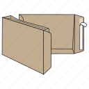 box, document, envelope, file, mail, peel and seal, post icon