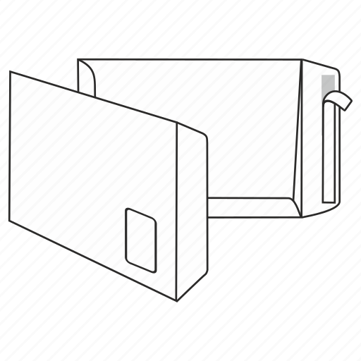 envelope, file, mail, peel and seal, post, send, window icon