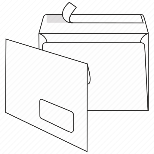 briefumschlag, communication, envelope, mail, peel and seal, post, window icon