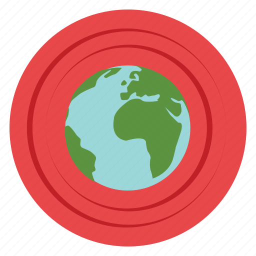 earth, ecology, environment, planet, pollution, protection, red icon