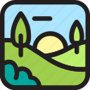 environment, geographic, green, hill, nature, park icon