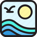 beach, environment, holiday, nature, sea, summer, wave icon