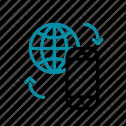 connecting people, global communication, mobile world, tech, worldwide icon