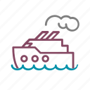 boat, cruise, sea, smoke, trip icon