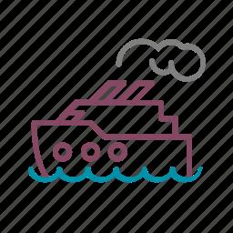 boat, cruise, sea, smoke, trip icon