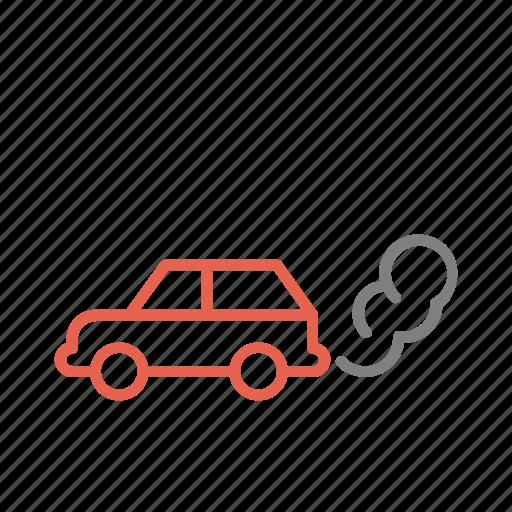 car, emissions, global warming, pollution, transport icon