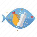 ecology, environment, fish, junk, microplastic, plastic, water pollution icon