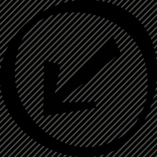 arrow, bottom, circle, direction, left icon