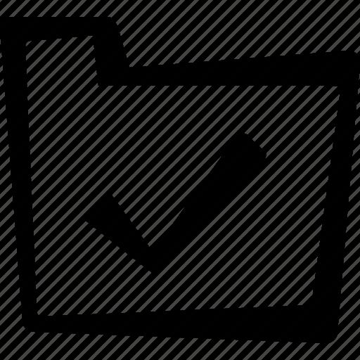check, file, folder icon