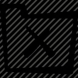 cross, delete, file, folder icon