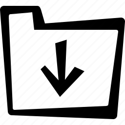 arrow, direction, down, file, folder icon
