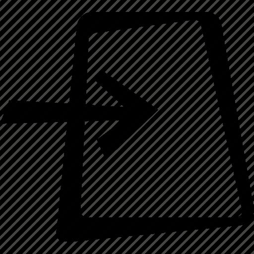 arrow, document, file, import icon