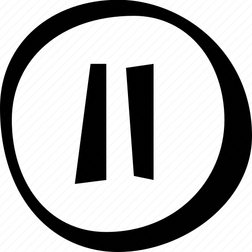 circle, music, pause, video icon