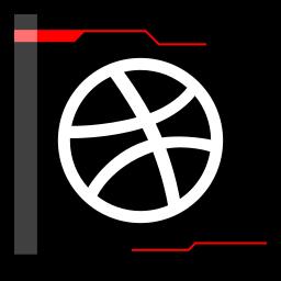 dribbble, internet, web icon