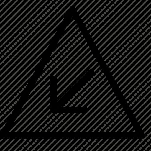 arrow, bottom, left, triangle icon