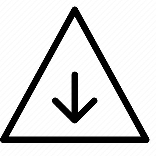 arrow, danger, down, download, error, triangle, warning icon