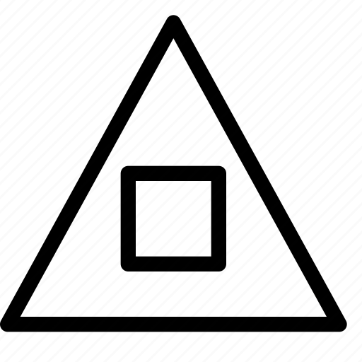 shape, square, stop, triangle icon