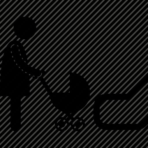 Baby, escalator, forbidden, mother, risky, stroller, restricted icon - Download on Iconfinder