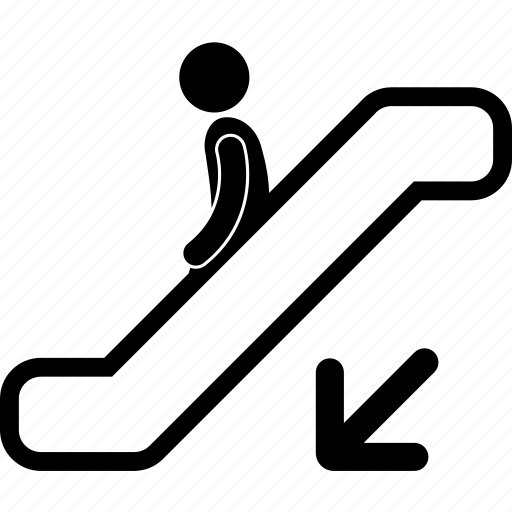 arrow, descending, down, escalator, guideline, proper, rule icon
