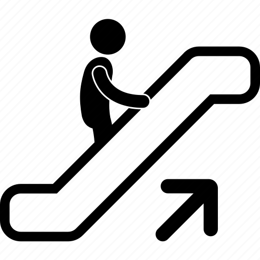 arrow, ascending, correct, escalator, handle, hold, up icon