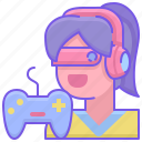 esports, gamer, girl icon