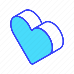 heart, isometric, like, love icon