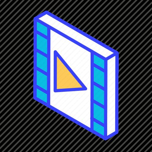 film, isometric, movie, video icon