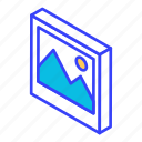 image, isometric, photo, photograph, picture icon