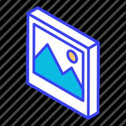 image, isometric, photo, photograph, picture icon
