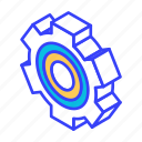 gear, isometric, setting, wheel icon