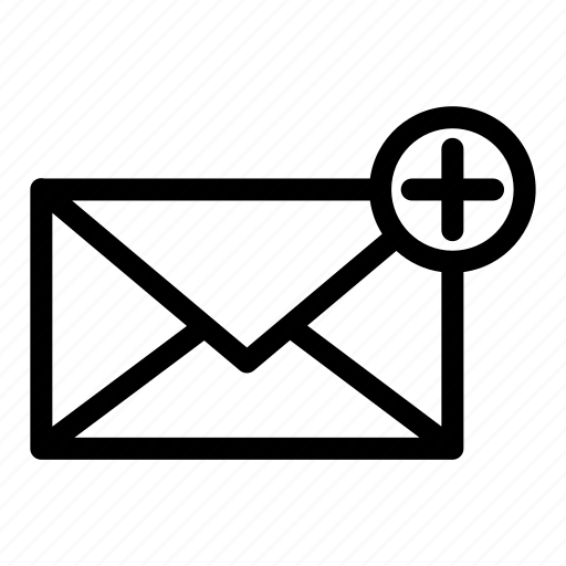 add, communication, email, envelope, internet, message, new mail icon